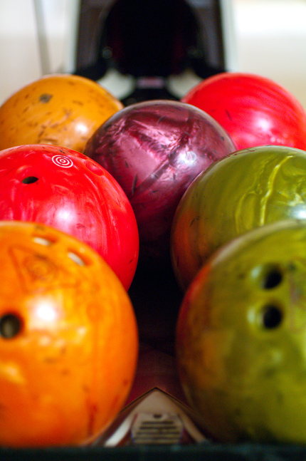 Colourful bowling balls