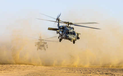 Apache and Sea Hawk joint fire exercise
