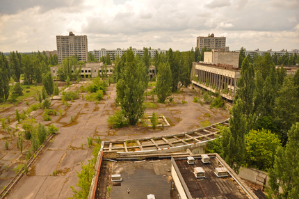 view from a hotel in Pripyat