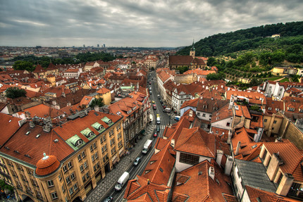 Looking down on Karmelitska in Prague