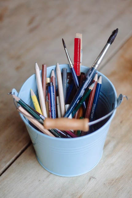 Bucket with stationery