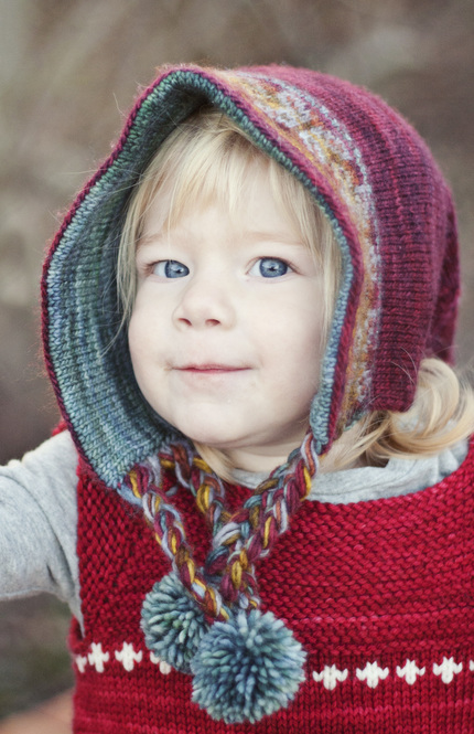 Girl in knitted hood
