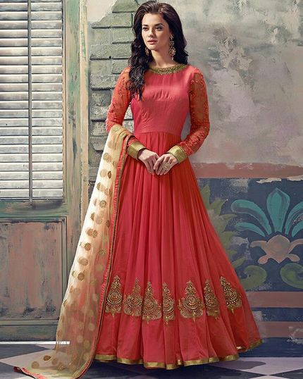 Peach and Cream Embroidred Georgette Long Anarkali Suit