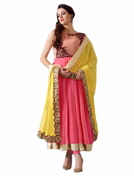 Ethnic Basket Pink and White Laced Georgette Anarkali Suit